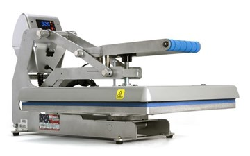 sideview of a closed auto open clam heat press